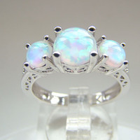With Side Stones Bohemian Women's Beautiful Wholesale- White Opal Wedding Rings Fashion Opal Jewelry Opal Ring Size #7,8 Free Shipping