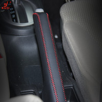 Wholesale XuJi Handbrake Cover for Honda Fit Car Special Hand stitched Black Genuine Leather Handbrake Covers