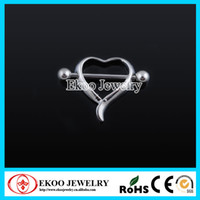 Wholesale 14 Gauge Body Jewelry Surgical Steel Heart Nipple Ring