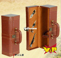 Wholesale leather Red wine gift box Wood Red wine packing box with Accessory Bar Sets