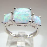 Cheap With Side Stones white opal ring Best South American Women's Wedding opal ring