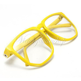 Wholesale New Yellow Oversized Retro Tortoise Shell Eye Fashion Glasses Unisex Nerd Geek Vintage Clear Lens Plain