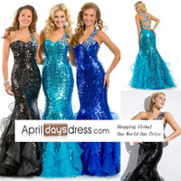 Reference Images Scalloped Chiffon custom made rhinestone prom dresses 2014 mermaid style prom gowns custom made prom suits one shoulder sequin fabric royal blue aqua black