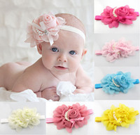 Headbands Lace Floral Wholesale - Baby Chiffon Rose Flower Pearl Headbands Baby Girl Floral Hair Ornaments Shining Headwear Kids' Hair Accessories SP-001