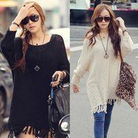 Women Acrylic Polo Oversized Womens Long Batwing Sleeve Jumper Loose Knit Coat Sweater Baggy Tops