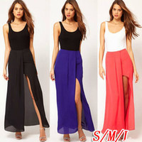Shorts Women Capris Sexy Hot Womens Open Side Split Dress Summer Solid Chiffon Long Maxi Skirt Boho