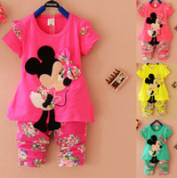 Wholesale Retail set Baby Girl clothing set Cartoon tracksuit Cute shirt floral pants sets Kids clothes suits Girls shirts