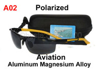 Wholesale Mens Fashion Aluminum Magnesium Aviation Alloy Polarized Sunglasses Glasses Driver Fishing Sports Black Frame Grey Lens Yellow Rubber Legs