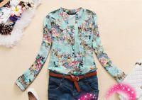 Women Polyester Pockets New 2014 v-neck chiffon women's long sleeve flower printed shirt women clothing blusas femininas dudalina free shipF0019