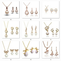 Wholesale pearl jewelry set style plated K gold pearl necklace and earring fashion Jewelry Sets wedding gift for women