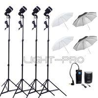 strobe light kit - 4 x SY8000 Godox Photo Photography Studio Strobe Light AC Slave Flash Bulb E27 Socket with Stand Umbrella Trigger Kit