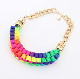 2014 New Fashion Handmade Cotton Cord Weave Bib Statement Necklace Chunky Chain Golden Collar Chokers For Women S99710