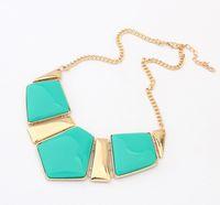 Pendant Necklaces gemstone necklace - Womens Big Acrylic Gemstone Necklaces Resin Statement False Collar Necklace Jewelry S98903