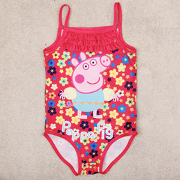 Wholesale New arrivals kids swimwear cartoon peppa pig fashion one piece swimsuits girls in bathing suits floral swimming suit