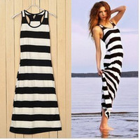 Casual Dresses V_Neck Knee Length New Fashion 2014 Women's Korea Black Stripes Long Boho Maxi Dresses Free Shipping