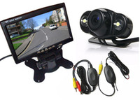 "Cheap Wireless 2 LED Reversing backup parking Camera 170° + 7"" LCD TFT Monitor Car Rear View Kit"