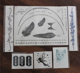 Wholesale 6pcs pack Necklace and Bracelet Temporary Tattoos angel cat