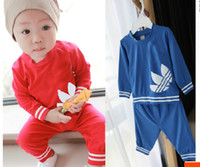 Unisex Summer  2014 spring autumn clothing set baby&kids boys and girls Long-sleeved track suit free shipping 5 sets LOT