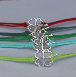 Wholesale Antiqued Silver Clover Bracelet Mint Green Personalized Bridesmaids Jewelries Unique Friendship Graduation Gift