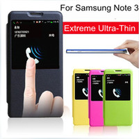 For Samsung Leather Yes Caller ID Open Window View Battery Back Slim Shell for samsung galaxy note 3 n9000 Cell Mobile Phone Flip Case Accessories Items