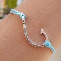 leather bracelets for men - Hook bracelet with Hope letters Silver Light blue Leather Bracelet for men Women Friendship Personalized Jewelry Gift
