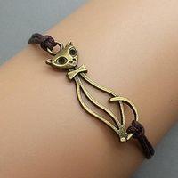 man  woman  gril  boy  bangle cats - Cat Bracelet Charm Bracelet Antique Bronze Korean Wax Cords Adjustable Weave Bangle Personalized Jewelry