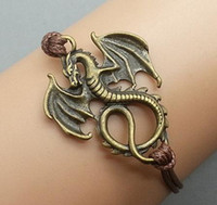 antique dragons - Dragon Bracelet Charm Bracelet Antique Bronze Korean Wax Cords Adjustable Weave Bangle Personalized Jewelry