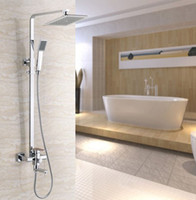 Wholesale 8 quot Square Rainfall Shower Set Tub Mixer Faucet Wall Mounted Tap With Hand Sprayer