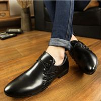 Lace-Up Men  European and American fashion hot sell British pointed with breathable leisure men's shoes Dress shoes free shipping