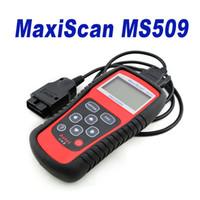 al por mayor cables de diagnóstico-Nueva Marca OBDII de Autel de código del coche de Autel MaxiScan MS509 lector OBDII OBD auto OBD2 Maxiscan MS 509 Herramienta de diagnóstico automotriz