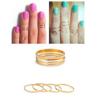 Couple Rings Women's Wedding Bands Retro 5PCS Set Rings Urban Stack Plain Cute Above Knuckle Ring Band Midi Ring RING-0001