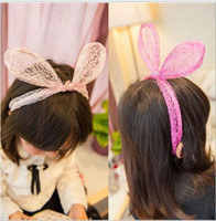 Wholesale Lovely Girls Children Big Ears Hairbands Kids Lace Material All match Cute Hair Accessories Child Head Band Mix Color H0784