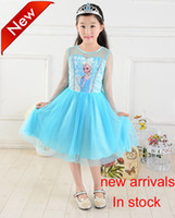 New arrivals Frozen Girls Dresses Children Summer Cartoon El...