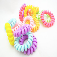 Wholesale Neon Flourscent Telephone Line Hair Scrunchies Tie Pony Hair Elastic Rubber Bands Ponytail Holder Jewelry Accessories
