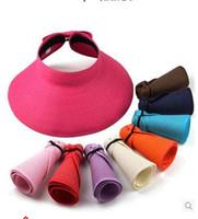 Wholesale Han edition beach hat sun hat empty hat straw hat The summer sun fold along the sun hat children s hat