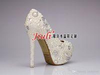 Wedding Heels Stiletto Heel Wholesale - Sweet Pearl Crystal Beaded Round Toe lady's formal shoes Women's High Heels Beaded Bridal Evening Prom Party Wedding Dress Bride
