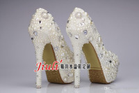 Adults Women  Wholesale - Sweet Pearl Crystal Beaded Round Toe lady's formal shoes Women's High Heels Beaded Bridal Evening Prom Party Wedding Dress Bride
