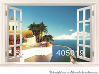 "Removable PVC Animal 36*27"" AY822 Lifelike Villa Window Sticker Quality 90*70cm Removable Decor Vivid Mediterranean Wallart Blue Sea Sky Swim Pool"