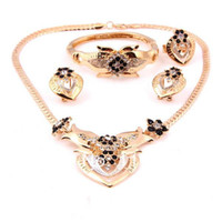 Jewelry Sets Fashion Yes T0088 Free Shipping Women Lobster Clasp Clear Rhinestone Hollow Heart 18K Gold Plated 2 Colours 4-pc. Metal African Jewelry Sets