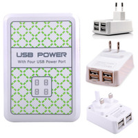 Wholesale 4 USB Ports Wall Power Charger AC Adapter UK EU US Plug For Samsung Galaxy S4 S5 Note Phone Galaxy Tab ipad iphone S