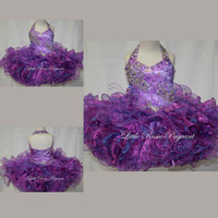 Wholesale new fashion Luxury charming Purple Tiered ruffles short mini dresses halter sleeveless formal gils pageant gowns organza cupcake stlye
