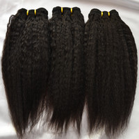 Burmese Kinky Straight Under $50 Grade 5A Kinky Straight Hair Extensions Can Bleach Burmese Virgin Hair 3Pcs Lot Color 1B Can Be Dyed Coarse Yaki Hair Wefts 24 26 28 Inch