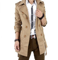 Wholesale Freeshipping MENS CASUAL DOUBLE BREASTED TRENCH COAT SLIM FIT XS S M L BLACK KHAKI