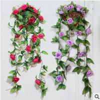 Wholesale 2014 HOT Colors Rose Decorative Flowers Vine Simulation Silk Artificial flowers Wedding Flower Home Decorate Flower Red Party Decoration