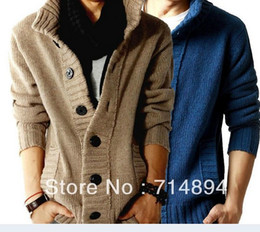 Wholesale fashion big lapel single breasted men s sweater real wool cotton men s sweater men s wool cardigan sweater
