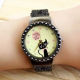 1pcs Women Vintage Watch Bronze Bracelet Casual Quartz Watches Black Cat watches Retro Analog Wristwatches