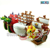Wholesale One Piece PVC Figure Toys Pirate ship Model Doll Golden Merry THOUSAND SUNNY Moby Dick Hancock Piggy Bank