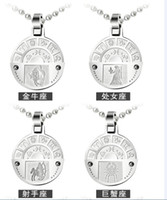Wholesale 2014 newest Fashion Jewelry Circle Twelve Constellations Pendant L Stainless Steel Necklace Necklace