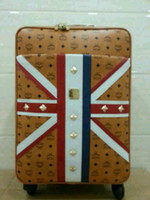 Wholesale Ladies Fashion Leather Luggages Brand MCM Union Jack Draw bar Box the Union Flag Draw bar Frame For Women amp Men EMS DHL Free Shi