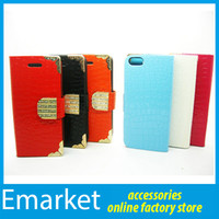For Apple iPhone Leather  Good Quality Flip PU Wallet Leather Case With Credit Card Holder Diamond Magnetic Snap for iPhone 4 4S 5 5S Samsung Galaxy S3 S4 NOTE 3